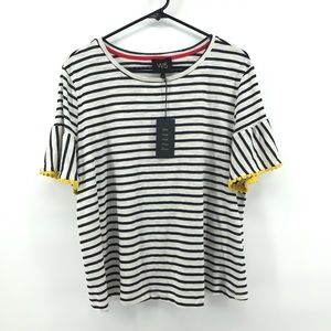 W5 Striped Boxy Tee Shirt Embroidered Sleeves